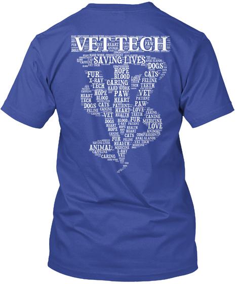Vet Tech   Word Art T Shirt Deep Royal T-Shirt Back
