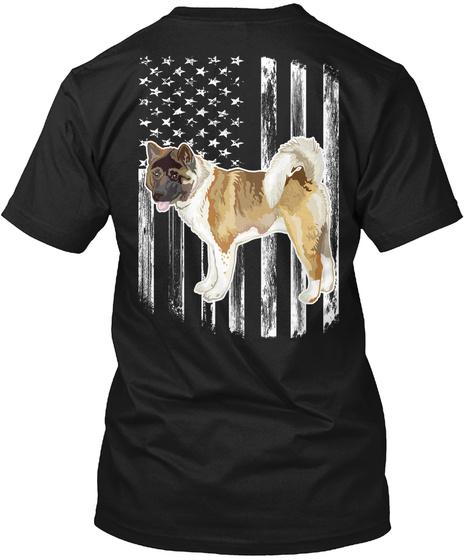 Usa Flag American Akita 4th Of July Gift Black T-Shirt Back