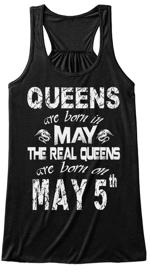 Queens Are Born In May 5 Th Black T-Shirt Front