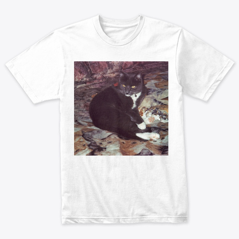 Cat On Cat Heather White T-Shirt Front