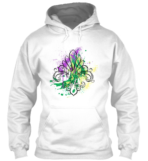 Mardi Gras Art Splash White T-Shirt Front