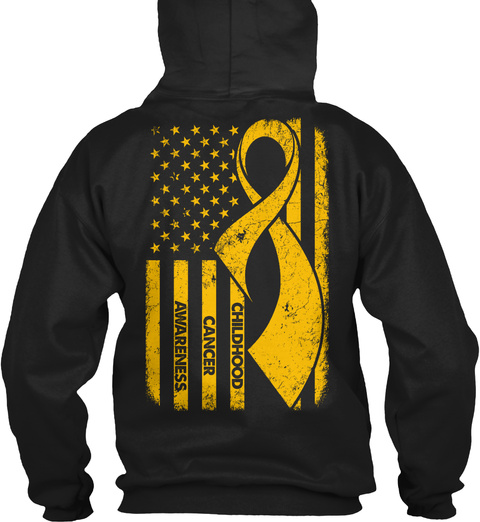 Childhood Cancer Awareness Black T-Shirt Back