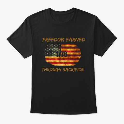 Military Pride Vet Shirt Freedom Through Black T-Shirt Front