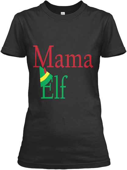 "Christmas New T Shirt With Text ''elf"" Black T-Shirt Front"