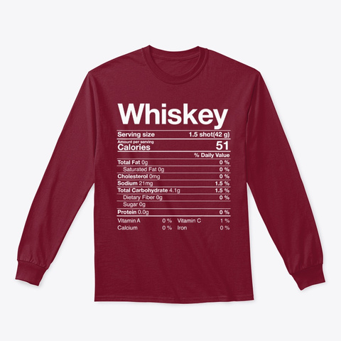 Whiskey Nutritional Facts Thanksgiving Cardinal Red T-Shirt Front