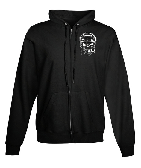 Zip Hoodie Hockey Skull Biting Puck Black Sweatshirt Front