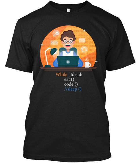 Programmer Eat Code Sleep T Shirt Black T-Shirt Front