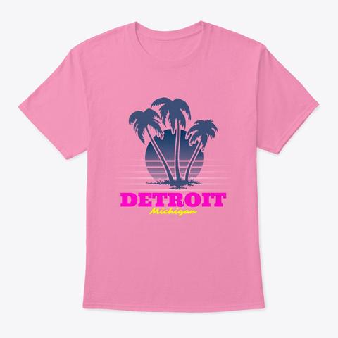 Detroit Michigan Palm Trees Beach Pink T-Shirt Front