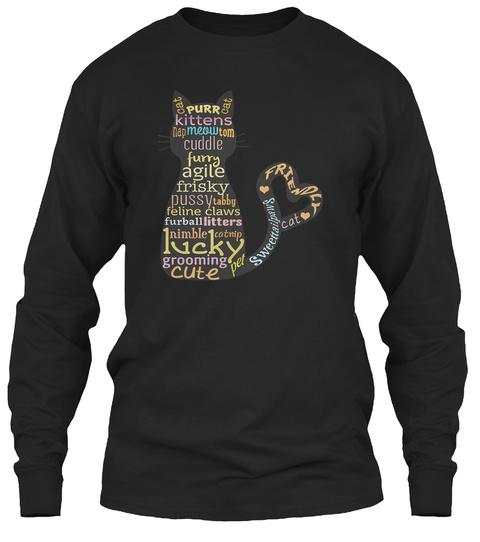 Cat Art Black T-Shirt Front