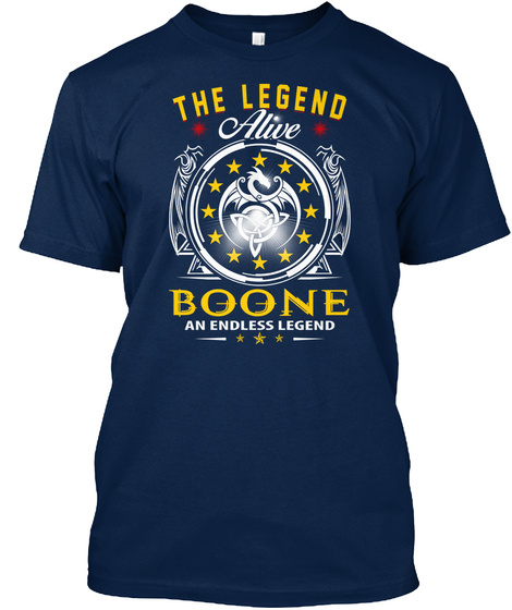 Boone   The Legend Alive Navy T-Shirt Front