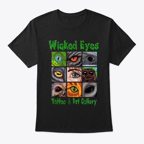Wicked Eyes Tattoo & Art Gallery Black T-Shirt Front