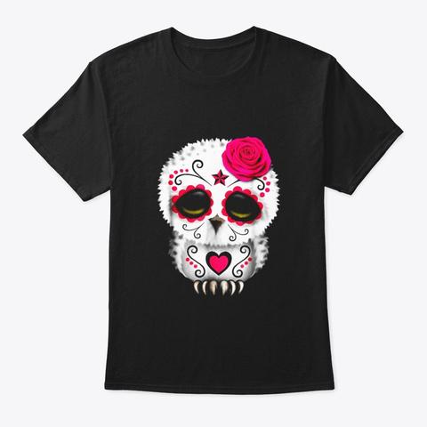 Owl Sugar Skull Trick Or Treat Pumpkin Black T-Shirt Front