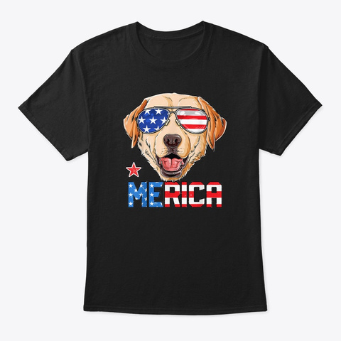 4th Of July Labrador Merica Dog Us Flag Black T-Shirt Front