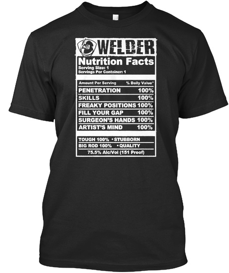 Welder Nutrition Facts Serving Size: 1 Servings Per Container: 1  Amount Per Serving % Daily Value Penetration 100%... Black T-Shirt Front