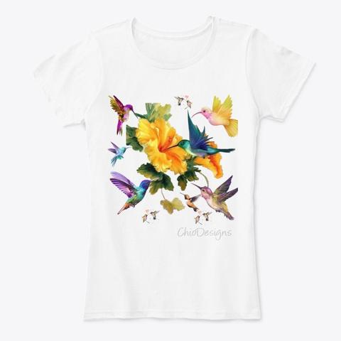 Hummingbird Tshirt By Chio Designs  White T-Shirt Front