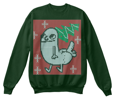 Dickbutt Holiday Sweater  Deep Forest  Sweatshirt Front