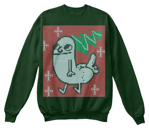 Dickbutt Holiday Sweater  Deep Forest  Sweatshirt Front
