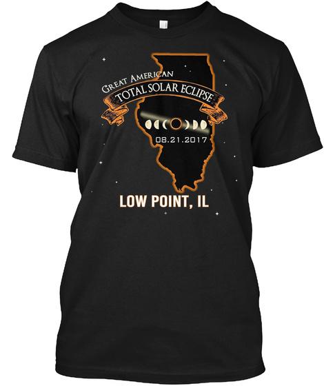Eclipse   Low Point   Illinois 2017. Customizable City Black T-Shirt Front