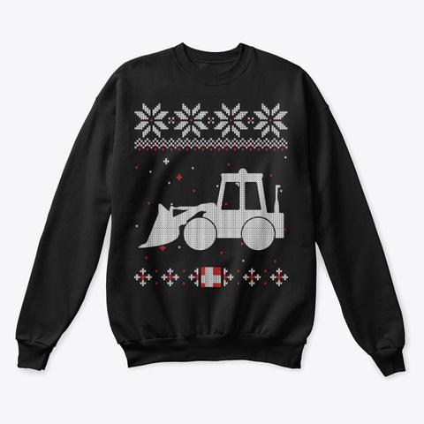 Bulldozer Operator Ugly Sweater Black T-Shirt Front