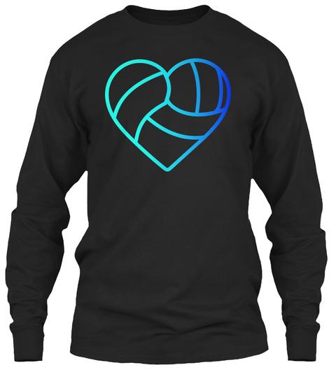 Volleyball Heart Black Long Sleeve T-Shirt Front