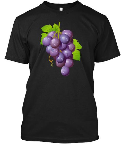 Purple Grapes Shirts Costume Vine Vineya Black T-Shirt Front
