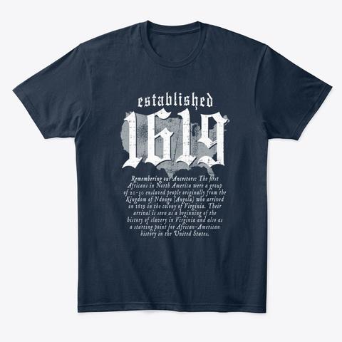 Established 1619 Ancestors American Map New Navy T-Shirt Front