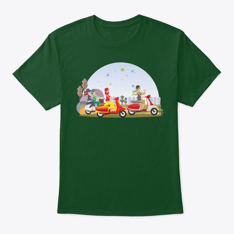 Girls In Lambretta Deep Forest T-Shirt Front