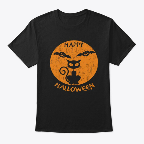 Happy Halloween Cat Black T-Shirt Front