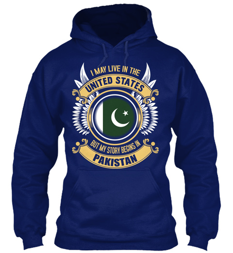 I May Live In The United States But My Story Begins In Pakistan Oxford Navy T-Shirt Front