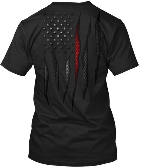 Carbon Fiber Onyx Thin Red Line Flag Black T-Shirt Back