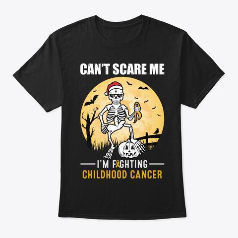 Childhood Cancer Awareness Halloween Tee Black T-Shirt Front