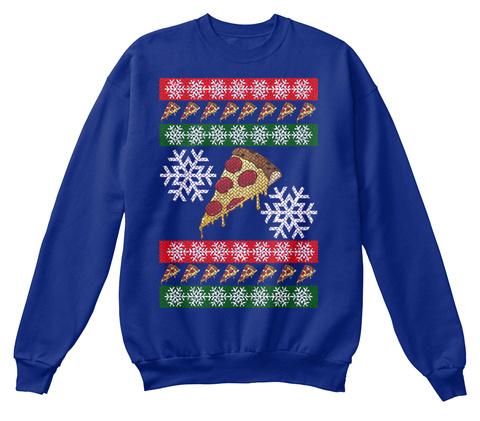 Ugly Holiday Pizza Deep Royal  T-Shirt Front