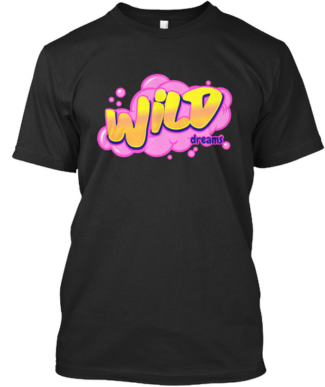 Wild Dreams In Fantasy Bubbles  Black T-Shirt Front