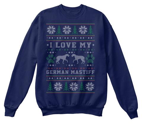German Mastiff Christmas T Shirt Navy  T-Shirt Front
