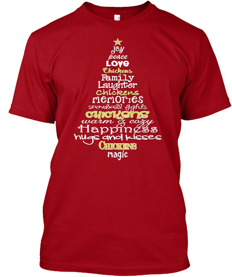 Chickens Christmas Tree Deep Red T-Shirt Front