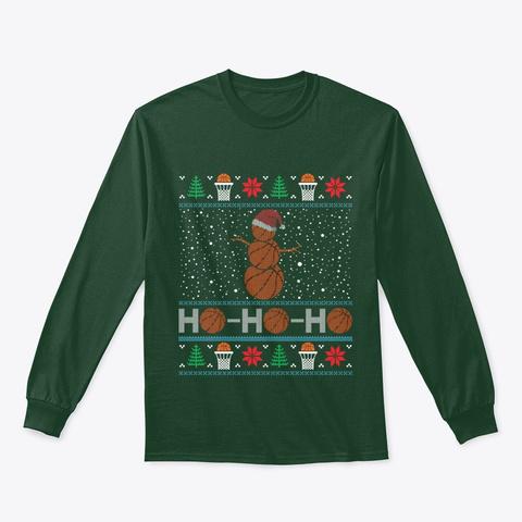 Christmas Basketball Snowman Reindeer Forest Green T-Shirt Front