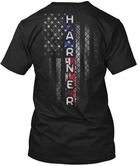 Harner Family American Flag Black T-Shirt Back