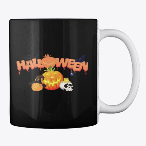 Halloween Mug Black T-Shirt Back