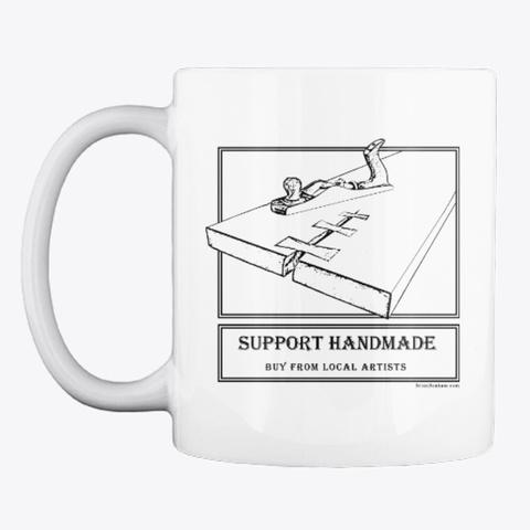 Support Handmade White Mug Front