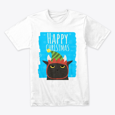 Happy Christmas,  Grumpy Cat White T-Shirt Front