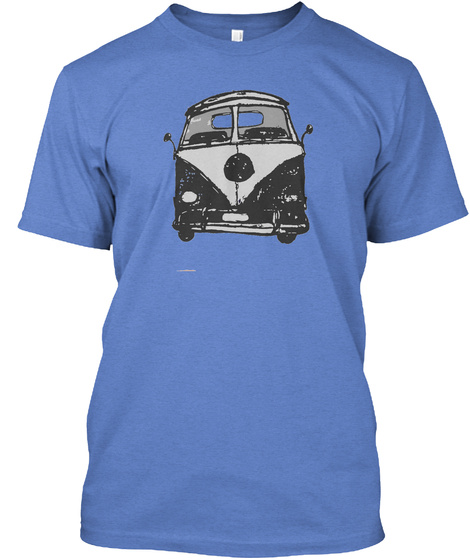 Beach Bus Heathered Royal  T-Shirt Front