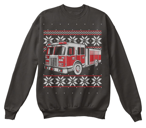 Fire Truck Firefighter Ugly Christmas Jet Black T-Shirt Front