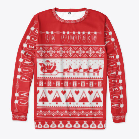 Official La Fintech Ugly Sweater Red T-Shirt Front
