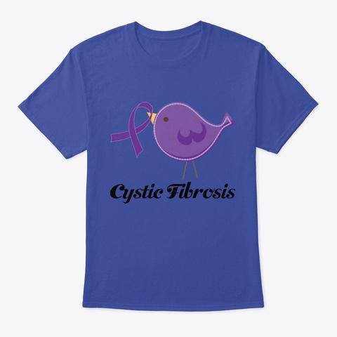 Cystic Fibrosis Awareness Ribbon Bird Deep Royal T-Shirt Front