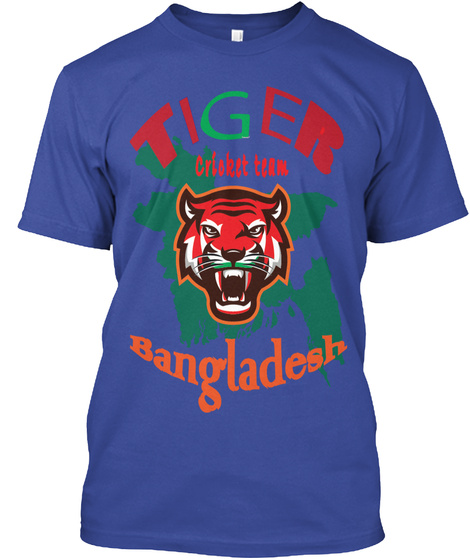 Tiger Cricket Team. Deep Royal T-Shirt Front