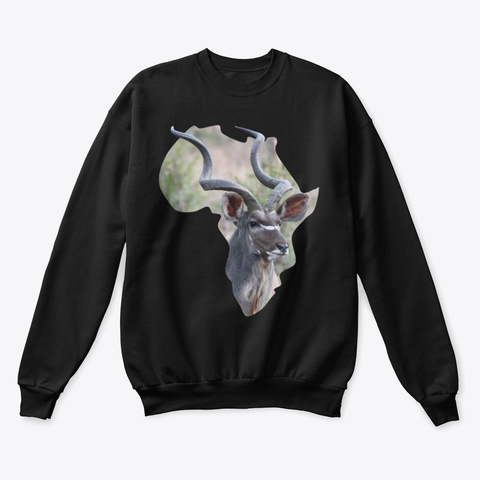 Africa With Kudu Fill Black T-Shirt Front