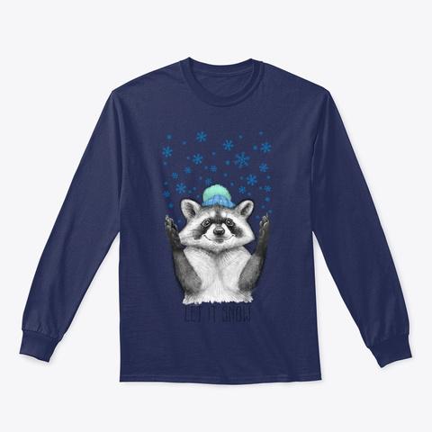 Christmas Raccoon Snow Shirt Navy T-Shirt Front
