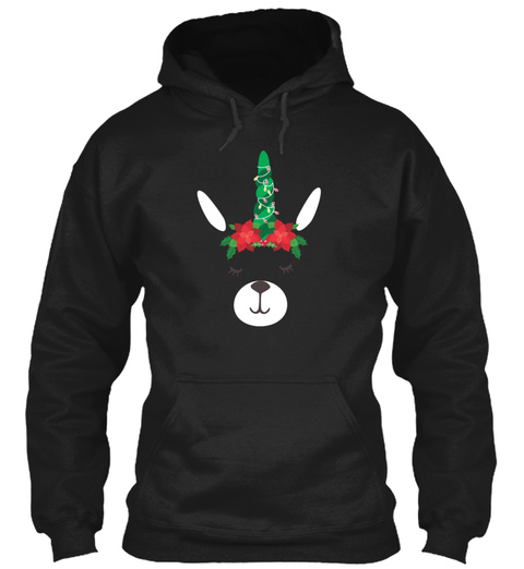Llama Christmas Tree And Lights Poinsett Black T-Shirt Front