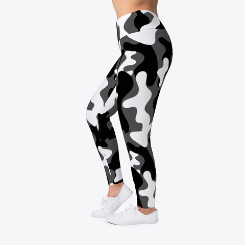 Camouflage Pattern Yoga  Leggings Black T-Shirt Left