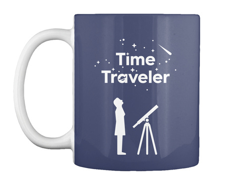 Time Traveler Woman Mug [Int] #Sfsf Dark Navy Mug Front